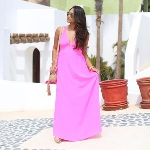 Yumi Kim Enchanted Maxi Dress Neon Pink Silk